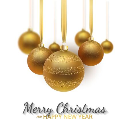 Greeting card, invitation with happy New year 2020 and Christmas. Metallic gold Christmas balls, decoration, shimmering, shiny confetti on a white background. Vector Illustration Иллюстрация