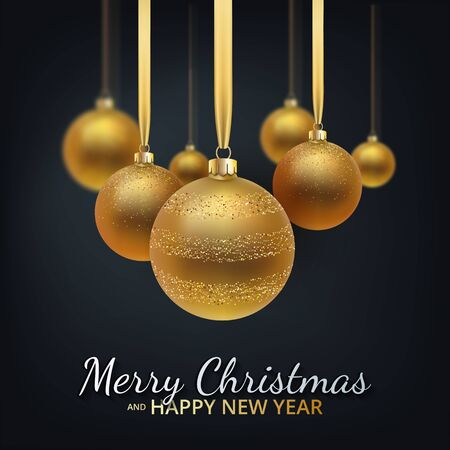Greeting card, invitation with happy New year 2020 and Christmas. Metallic gold Christmas balls, decoration, shimmering, shiny confetti on a black background. Vector Illustration
