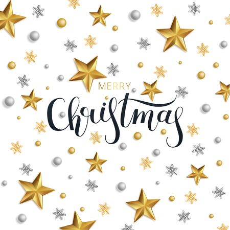 Greeting card, invitation with happy New year 2020 and Christmas. Lettering Merry Christmas . Metallic gold stars, decoration, shimmeringon a white background. Vector Illustration