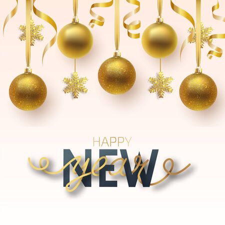Greeting card, invitation with happy New year 2020 and Christmas. Metallic gold and snowflake Christmas balls, decoration, shiny confetti on a white background. Vector Illustration