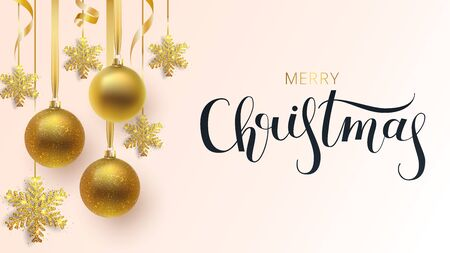 Greeting card, invitation with happy New year 2020 and Christmas. Metallic gold and snowflake Christmas balls, decoration, shiny confetti on a white background. Vector Иллюстрация