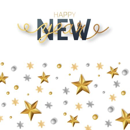 Greeting card, invitation with happy New year 2020 and Christmas. Lettering Happy New Year . Metallic gold stars, decoration, shimmering on a white background. Vector Illustration Иллюстрация