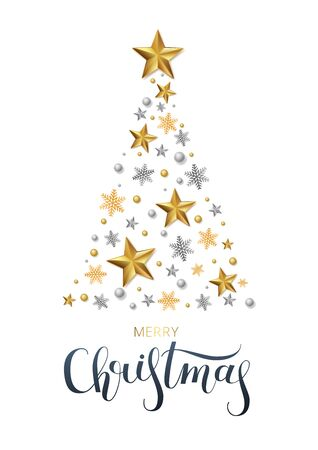 Greeting card, invitation with happy New year 2020 and Christmas. Lettering Merry Christmas . Metallic gold stars, fir-tree, shimmeringon a white background. Vector