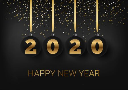 Greeting card, invitation with happy New year 2020 and Christmas. Metallic gold Christmas balls, decoration, shimmering, shiny confetti on a black background. Hand written lettering. Vector Illustration Archivio Fotografico - 132009313
