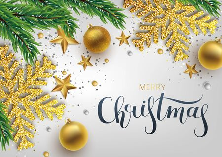 Christmas greeting card, vector background.Gold and silver Christmas ball, and branch fir-tree. Metallic gold and silver Christmas snowflake. Hand drawn lettering. Vector illustration Archivio Fotografico - 132006491