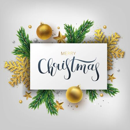 Christmas greeting card, vector background.Gold and silver Christmas ball, and branch fir-tree. Metallic gold and silver Christmas snowflake. Hand drawn lettering. Vector illustration Archivio Fotografico - 133537069
