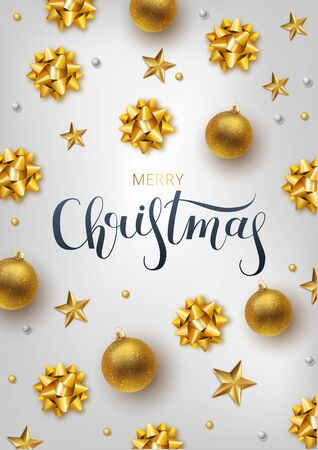 Christmas greeting card, vector background.Gold Christmas ball. Hand drawn lettering. Vector illustration Archivio Fotografico - 132009911