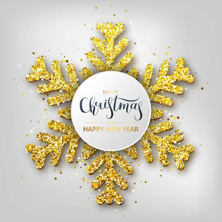 Greeting card, invitation with happy New year 2020. Hand written lettering. Metallic gold Christmas snowflake, decoration, shimmering, shiny confetti on a white background. Vector Illustration