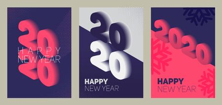 New year in flat style. 3d vector isometric illustration. Happy new year 2020 banner design. Management icon. Vector illustration. Archivio Fotografico - 133537070