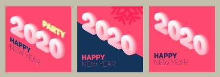 New year in flat style. 3d vector isometric illustration. Happy new year 2020 banner design. Management icon. Archivio Fotografico - 133537068