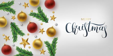 Christmas greeting card, vector background.Gold and red Christmas ball, and branch fir-tree. Metallic gold and silver Christmas snowflake. Hand drawn lettering. Vector Archivio Fotografico - 133537072