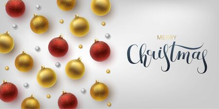 Christmas greeting card, vector background.Gold and red Christmas ball. Archivio Fotografico - 133537066