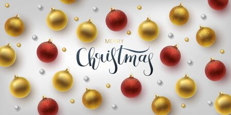 Christmas greeting card, vector background.Gold and red Christmas ball. Hand drawn lettering. Vector Archivio Fotografico - 133537067
