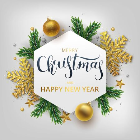 Christmas greeting card, vector background.Gold and silver Christmas ball, and branch fir-tree. Metallic gold and silver Christmas snowflake. Hand drawn lettering. Vector Archivio Fotografico - 133537074