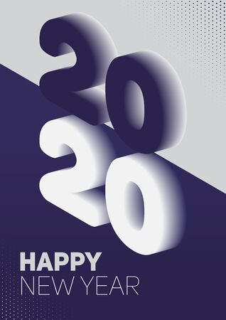 New year in flat style. 3d vector isometric illustration. Happy new year 2020 banner design. Management icon. Vector illustration. Archivio Fotografico - 133537071