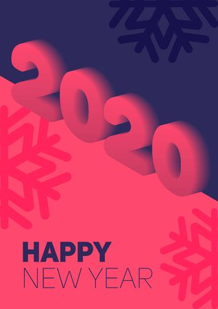 New year in flat style. 3d vector isometric illustration. Happy new year 2020 banner design. Management icon. Vector illustration. Archivio Fotografico - 133537082