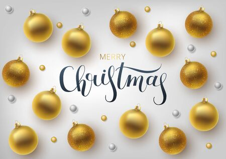 Christmas greeting card, vector background.Gold Christmas ball. Hand drawn lettering. Vector Иллюстрация
