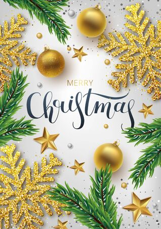 Christmas greeting card, vector background.Gold and silver Christmas ball, and branch fir-tree. Metallic gold and silver Christmas snowflake. Hand drawn lettering. Vector