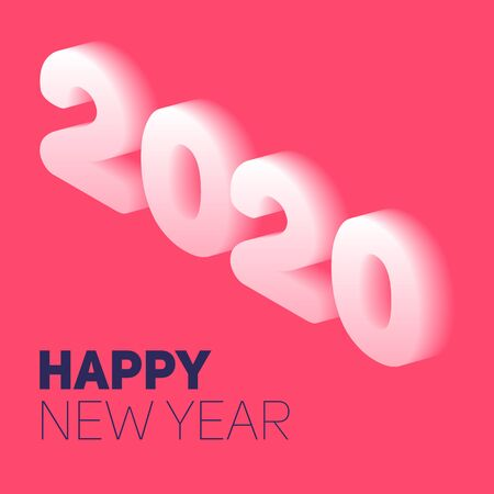 New year in flat style. 3d vector isometric illustration. Happy new year 2020 banner design. Management icon. Vector Archivio Fotografico - 133537076