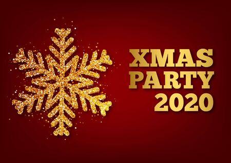 Christmas greeting card, vector red background. Metallic gold Christmas snowflake. Vector illustration Archivio Fotografico - 133537075
