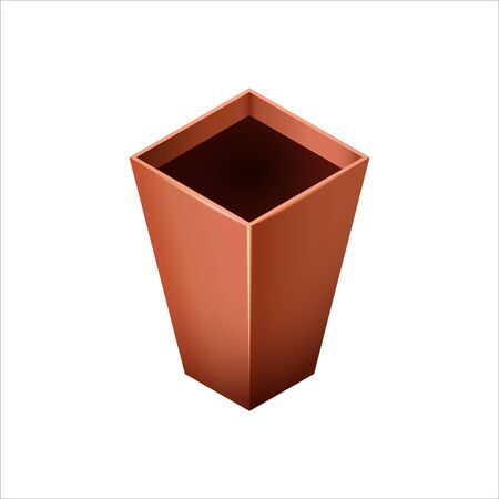 Empty ceramic brown flowerpots for cultivation of plants. Clay pot in an isometry, isolated on a white background. Vector illustration Archivio Fotografico - 132617475