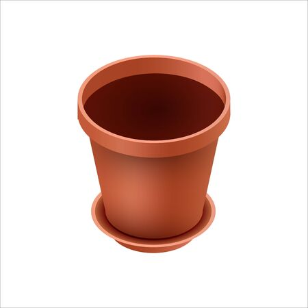 Empty ceramic brown flowerpots for cultivation of plants. Clay pot in an isometry, isolated on a white background. Vector illustration Archivio Fotografico - 132620621