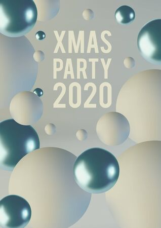 Greeting card, invitation with happy New year 2020 and Christmas. Blue and white spheres of balls. Realistic abstract background with 3d. Vector Archivio Fotografico - 133236057
