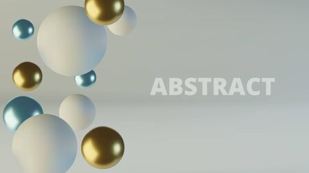 Blue and gold spheres of balls. Realistic abstract background with 3d. Blue and white bubbles. Vector illustration Archivio Fotografico - 133238265