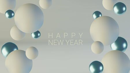 Greeting card, invitation with happy New year 2020 and Christmas. Blue and white spheres of balls. Realistic abstract background with 3d.
