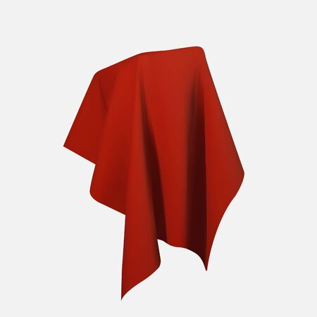 Realistic drapery fabric 3d. Box covered with red silk cloth isolated on white background. Box of tricks and magic. Table for exhibition objects. Vector illustration