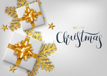 Greeting card, invitation with happy New year 2020. Hand written lettering. Metallic gold Christmas snowflake and gift box on a white background. Vector Illustration