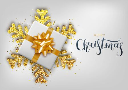 Greeting card, invitation with happy New year 2020. Hand written lettering. Metallic gold Christmas snowflake and gift box on a white background. Vector Illustration Archivio Fotografico - 133255179