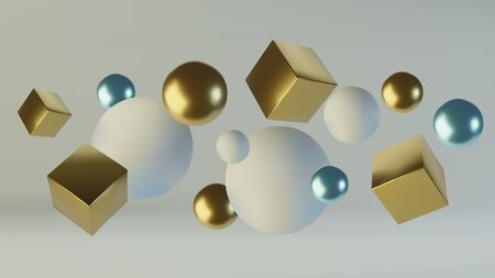 Realistic spheres and cubes. Abstract background of primitive geometric figures. Design element of 3d golden and blue ball and box. Vector illustration