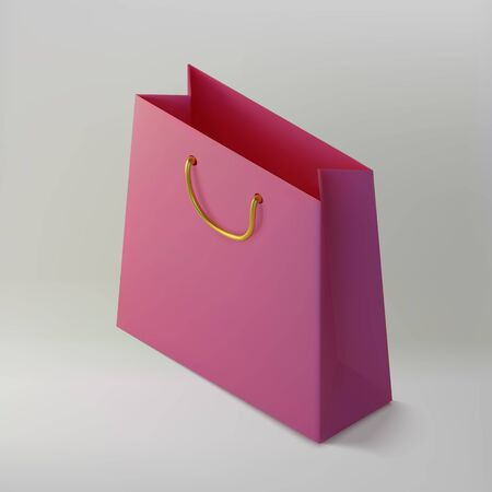 Paper realistic pink shoping bag. Mockup isometric package for purchases. Handbag 3d icon.Template for products, web banners and leaflets. Vector Illustration