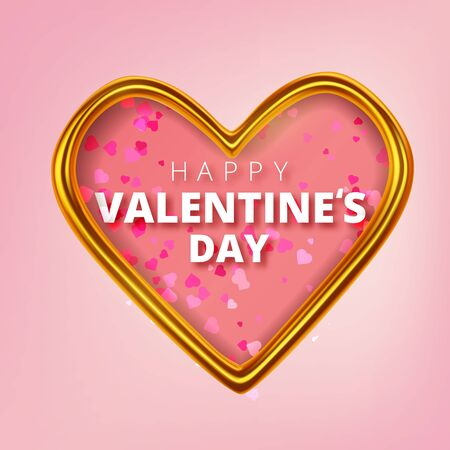 Happy Valentines Day greeting card. Realistic 3d hearts on red background. Love and wedding. Vector illustration