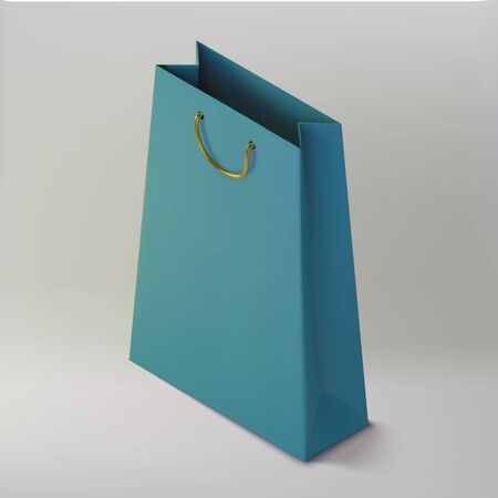 Paper realistic blue shoping bag. Mockup isometric package for purchases. Handbag 3d icon.Template for products, web banners and leaflets. Vector Illustration