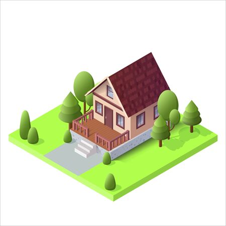 Isometric country house on green ground with trees. The poster for sale the real estate, construction and leased concept and billboard. Vector