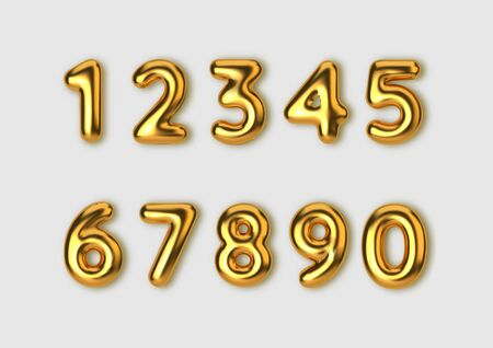 Realistic 3d font gold numbers. Number in the form of golden balloons.