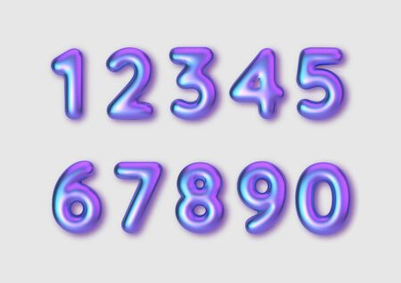 Realistic 3d font color rainbow pearlescent numbers. Number in the form of golden balloons. Template for products, advertizing, web banners, leaflets, certificates and postcards. Vector illustration