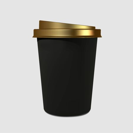 Paper realistic black coffee cup with a gold cover. Mockup coffee mugs. Disposable glass for drinks. Template for products, web banners and leaflets. Vector illustration