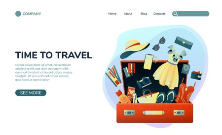 Collecting a suitcase on a trip: clothes, documents, equipment. Landing page planning a summer vacation, tourism. Colorful trendy illustration. Flat design. Vector illustration