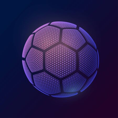 3d style ball. Image soccer ball made of polygon shapes.Vector illustration