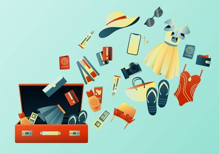 Collecting a suitcase on a trip: clothes, documents, equipment. Travel stuff. Planning a summer vacation, tourism. Colorful trendy illustration. Flat design. Vector