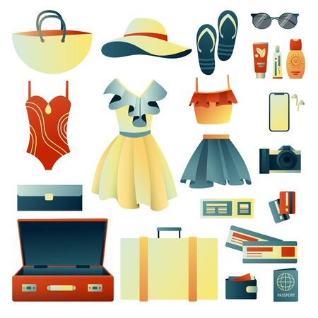 Collecting a suitcase on a trip: clothes, documents, equipment. Travel stuff. Planning a summer vacation, tourism. Colorful trendy illustration. Flat design. Vector illustration