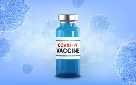 Realistic 3d glass ampoules with medicine. Vaccine injection. corona virus infection, novel coronavirus disease 2019, COVID-19,nCoV 2019. Vector illustration.