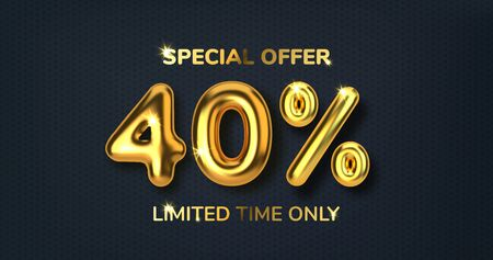40 off discount promotion sale made of realistic 3d gold balloons. Number in the form of golden balloons. Template for products, advertizing, web banners, leaflets, certificates and postcards. Vector illustration Vector Illustratie