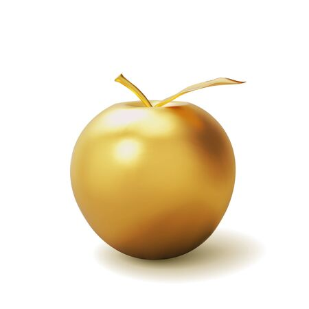 Realistic golden apple isolated on white background. 3D template for products, advertizing, web banners, leaflets. Vector