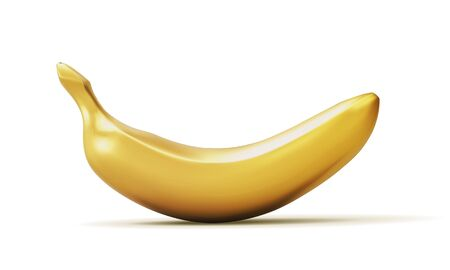 Realistic golden banana isolated on white background. 3D template for products, advertizing, web banners, leaflets. Vector illustration