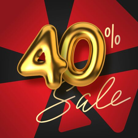 40 off discount promotion sale made of realistic 3d gold text. Number in the form of golden balloons. Template for products, advertizing, web banners, leaflets, certificates and postcards. Vector illustration