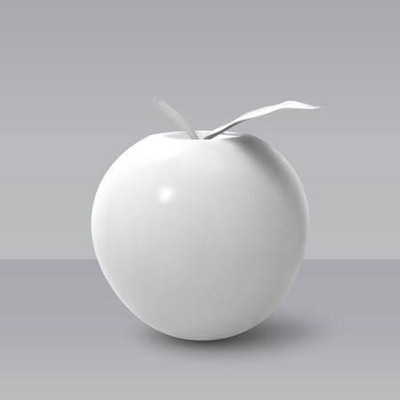 Realistic white apple isolated on grey background. 3D template for products, advertizing, web banners, leaflets. Vector illustration